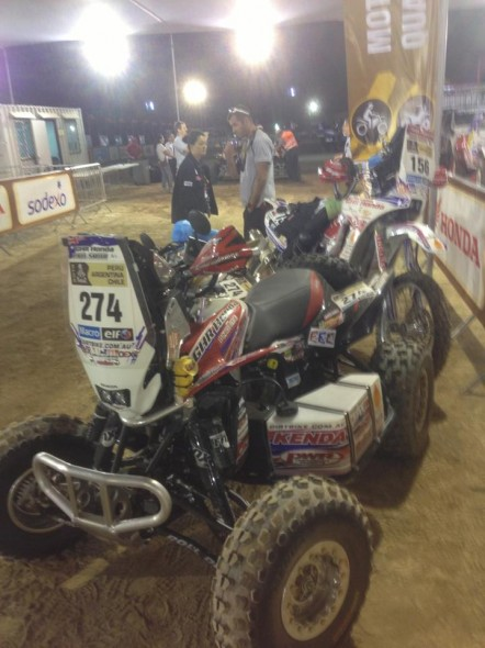 Paul's quad at scrutineering with Todd.