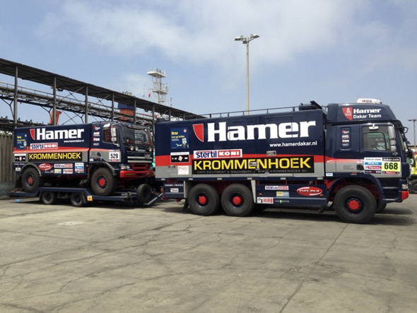 Lima: when you have a race truck you need a good tow vehicle.