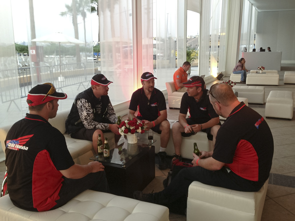 Lima: the Dakar crew briefing. Hard work but someone has to do it.