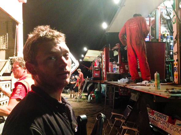 Dakar 2013: Jake Young waiting to use the MAN race team's press at 1.30 am.
