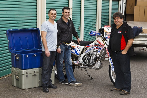 Kevin and Elvis from Armourboy, along with Glenn Hoffmann and Jacob Smith's Safari winning bike from 2012